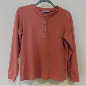 Button up or v neck red top